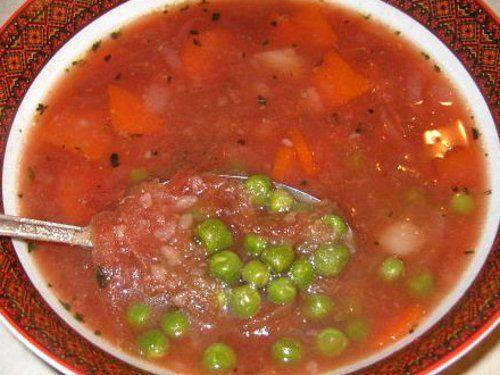 Як приготувати томатний суп із зеленим горошком