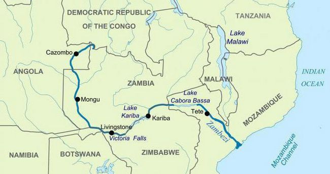 Режим річки замбезі. Куди впадає річка замбезі?